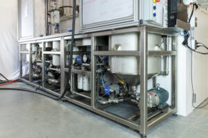 acs manufactured this sump and process system that provides tempered fuel to and from enclosure for fuel filtration r&d testing